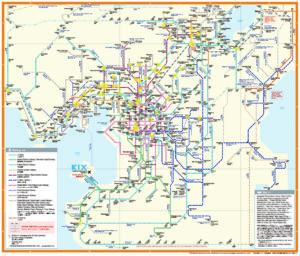 English train map in Kansai